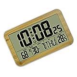 VOSAREA Reloj de Pared Patrón de Madera Digital Electrónico de Escritorio Despertadores Temperatura Calendario Reloj de Visualización para El Hogar Oficina Sala de Escuela