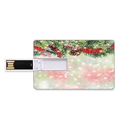 16GB Unidades Flash USB Flash Navidad Forma de Tarjeta de crédito bancaria Clave Comercial U Disco de Almacenamiento Memory Stick Ramas de Abeto de Hoja perenne con Bayas Rojas de Acebo maduras Telón