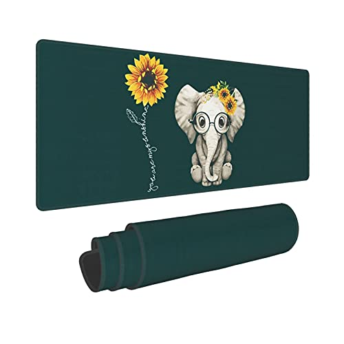 Cute Elephant Sunflower Extended Mouse Pad 31.5x11.8 Inch XL You are My Sunshine Non-Slip Rubber Base Large Gaming Mousepad Stitched Edges Waterproof Keyboard Mouse Mat Desk Pad for Office Home