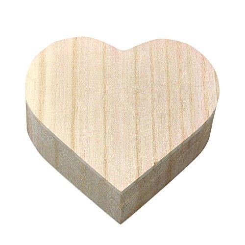 kentop Corazón Caja de madera con tapa para guardar joyas Madera Joyero caja de regalo para pintar DIY Manualidades artesanía