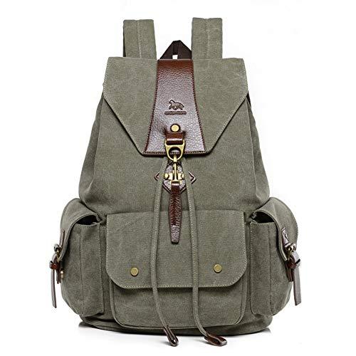 Mochilas de Lona, Popoti Mujeres Hombres Mochila Escolar Vintage Backpack Laptop Bag...