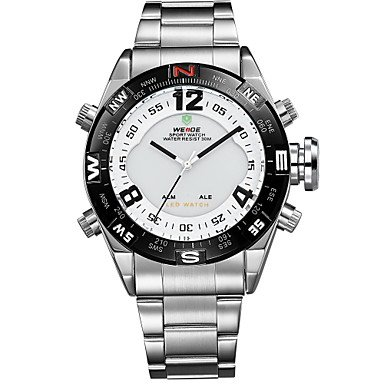 XKC-watches Herrenuhren, Weide® Herren-Analog-Digital geführte Uhr Japan Edelstahluhr Mov't (Farbe : White/Sliver, Großauswahl : Einheitsgröße)