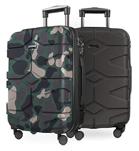 HAUPTSTADTKOFFER - X-Kölln - 2er Koffer-Set Handgepäck Trolley-Set Rollkoffer Reisekoffer, TSA, (S & S), Camouflage & Graphit matt