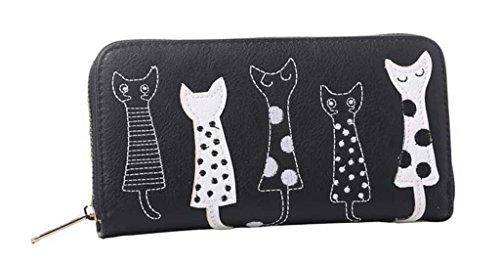 Cartera Valentoria ideal como regalo de cumpleaños, con dibujos animados de gatos, de piel sintética y con cremallera, tipo cartera de mano, negro