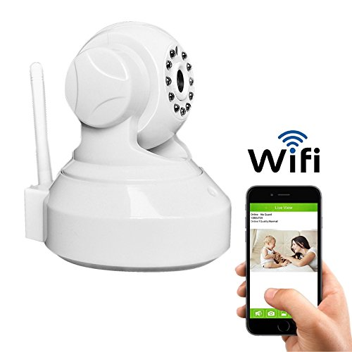 Coolcam iSmart Wireless WiFi IP Camera Smartphone CCTV Security Surveillance 2way Audio Camera with Night Vision and Motion Detect Free P2P Cloud Connection Service with QR Code (White Single)