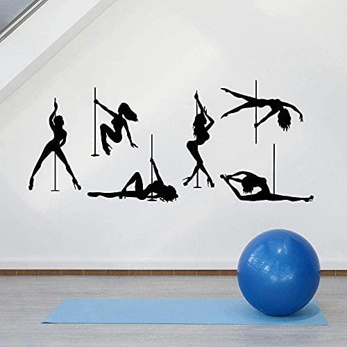Pegatinas de pared de vinilo pegatinas creativas pole dance mujer striptease floor dance striptease mural de la habitación de la muchacha 133x57cm
