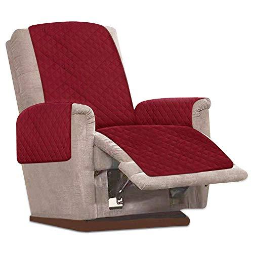 JTWEB Sesselschoner Sesselauflage Relax mit rutschfest, 1 Sitzer Sesselschutz Sofaüberwurf mit 2.5 cm Breiten verstellbaren Trägern (Rot)