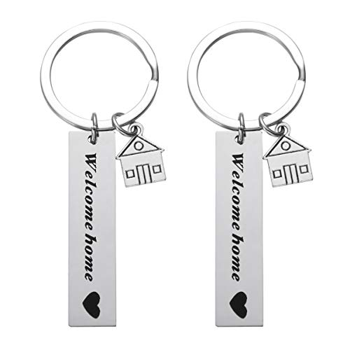 Amosfun 2pcs Welcome Home Keychains New Home New Adventures Keychain Housewarming Gift New Homeowner House Keyring First Home Present For Husband Wife