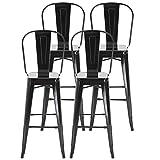 homcom Set 4 Sgabelli per Casa o Bar in Metallo Nero Leggero, Design Industriale con Poggiapiedi (44 x 53 x 116 cm)