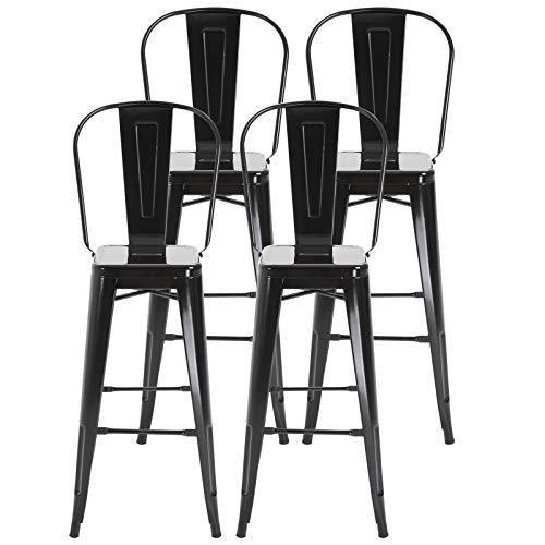 homcom Set 4 Sgabelli per Casa o Bar in Metallo Nero Leggero, Design Industriale con Poggiapiedi (44 x 49 x 116 cm)