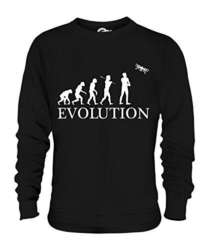 Candymix Luftaufnahmen Drohne Kamera Luftbildfotografie Evolution des Menschen Unisex Herren Damen Sweatshirt, Größe Large, Farbe Schwarz