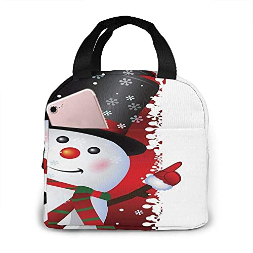 VJSDIUD Bolsa de almuerzo Bolsa de asas Tema navideño Muñeco de nieve lindo Fiambrera roja Bolsa aislada Bolsa de asas Reutilizable Impermeable para hombres Mujeres Viajes de trabajo