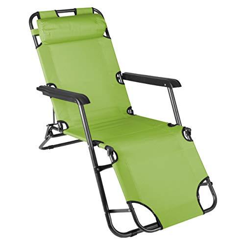 Nexos klappbare Sonnenliege Relaxliege Liegestuhl Klappliege Stahl (Grün)
