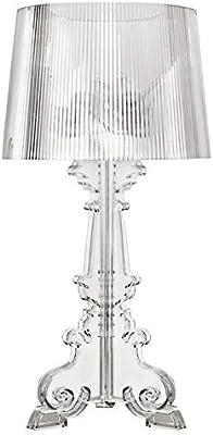 Plexiglas Tischleuchten for Wohnzimmer Neben Licht Home Desk Lamp Alle Acrylk/örper Lampenschirm-Schlafzimmer-Lampe E27 E14 Color : Black, Size : S
