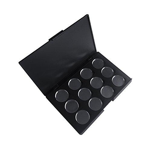 Allwon Leere magnetische Lidschatten-Make-up-Palette mit 12 Stück 26mm runden Metallpfannen