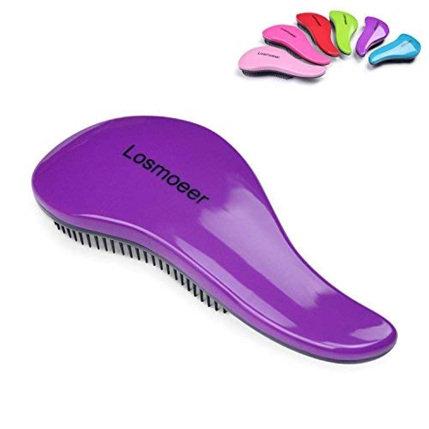 鮮やかなウェーハラジカルLOSMOEER Detangling Hair Brush - Professional Salon Elite Detangle Brush Detangler Hair Comb for Adults and Kids Purple Color [並行輸入品]