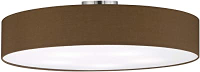 Trio Leuchten SLV Hotel 603900514 - Plafoniera in metallo nichel opaco, paralume in tessuto marrone, 5 lampadine E27 non incluse