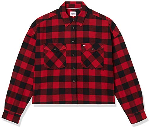 Tommy Jeans Tjw Gingham Check Shirt Camisa, Vino Tinto/Negro, S para Mujer