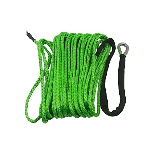 """TYT 3/16"""" x 50' Dyneema Synthetic Winch Rope, Stronger and Safer Than Steel Cable Synthetic Winch Rope for 7000 lb with Protecting Sleeve and Thimble, for UTV ATV Winches Line Cable Rope (Green)"""
