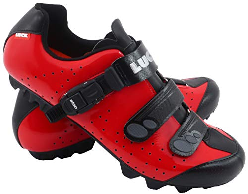 LUCK Zapatillas de Ciclismo MTB ODÍN con Suela de Carbono y Cierre milimétrico de precisión. (44 EU, Rojo)