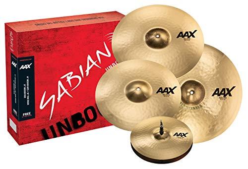 "Sabian Cymbal Free 18"" Thin Crash, AAX Promotional Set Brilliant Finish, (14"" Hats, 16"" Crash, 21"" Ride, Crash) (25005XCPB)"