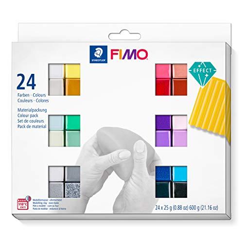 STAEDTLER 8013 C24-1 FIMO Effect ofenhärtende Modelliermasse (Set mit 24 Farben)