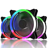 upHere Computer Case Fan 120mm LED Silent Fan for Computer Cases, CPU Coolers, and Radiators Ultra Quiet,Triple Pack Colorful Case Fan,F03