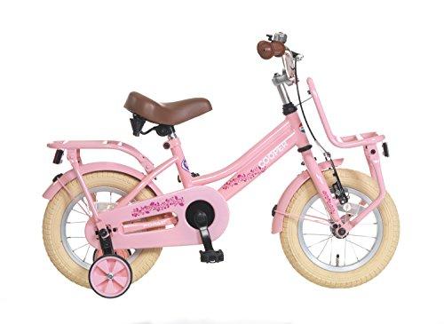 Kinderfahrrad Mädchen Popal Cooper 14 Zoll mit Vorradbremse am Lenker und Rücktrittbremse, Stützräder und Gepäckträger Rosa 95% Zusammengebaut