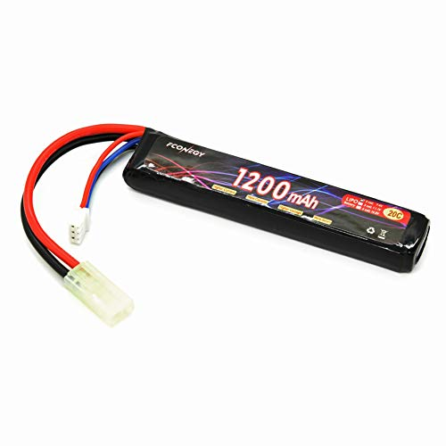 FCONEGY - Batería de polímero litio 2S/3S 11.1/14.8V 1200/2400mah 20C con Deans-T/Mini Tamiya Plug para armas RC Gun/Airsoft, 2096 Memoria mini (7,4 V, 1200 mAh), 2096-7.4V-1200mAh-Mini Tamiya-Stick