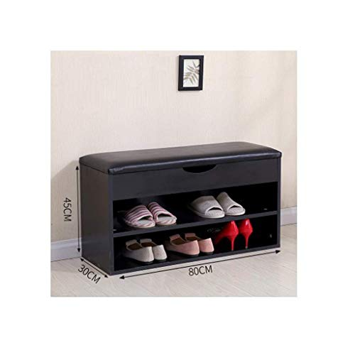 XBDD Moderno zapatero de madera, estante organizador de zapatos de 2 niveles, con cajón y asiento acolchado plegable, para pasillo, entrada, 31,5 x 11,8 x 17,7 pulgadas (color negro)