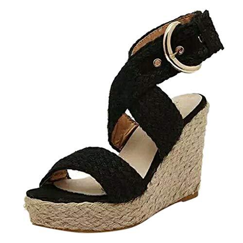 DressLksnf Sandalias con Cuña Mujer Verano Dulce Encaje Peep Toe Zapatos Chancletas Zapatillas Playa Boda Talón Grueso Cuerda de Cáñamo Sandalias