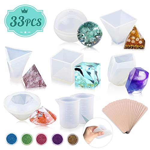 Sothat Resin Casting Molds 12 Pack Silicone Epoxy Resin Craft Molds Includes Sphere//Square//Diamond//Pyramid//Stone Shapes//Water Drop//Rings for Jewelry Making with Mixing Cups And Sticks