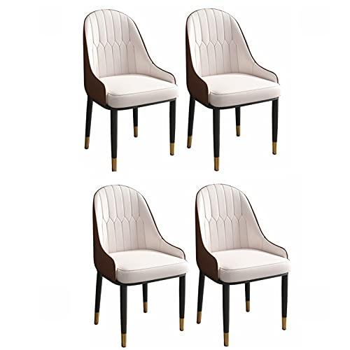 ADGEAAB Juego de 4 sillas de comedor modernas de cuero de cocina con respaldo alto, asiento suave, sillas de salón con patas de metal para oficina, salón, comedor, dormitorio (color beige y café)