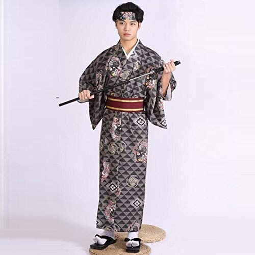 For Hombre Ropa Tradicional Japonesa Samurai Kimono For El Karate Masculino OBI Yukata Kimono Cosplay Tradicional Japonesa Kimonos Zzzb (Color : 3, Size : L)