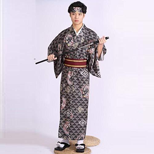 Traditionelle Japanische Herrenkleidung Samurai Kimono for Karate Obi Yukata Male Kimono Cosplay Traditionelle Japanische Kimonos Zzzb (Color : 3, Size : M)