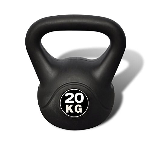 vidaXL Pesa Rusa de 20 Kilos Negra Kettlebell Musculación Fitness Ejercicio