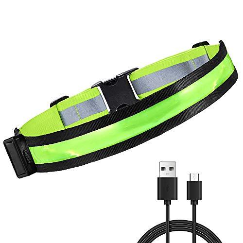 Cinturón Reflectante LED, Cinturón para Correr LED Recargable, Totalmente Ajustable - Equipo de Seguridad de Alta Visibilidad para Correr, Caminar, Andar en Bicicleta - Se Adapta a Adultos y Niños
