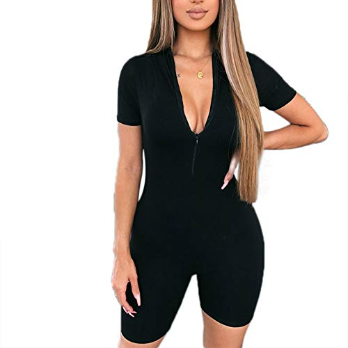Loalirando - Mono de deporte para mujer, sexy, de manga corta, cuello en V profundo, informal, verano, negro y gris Negro M