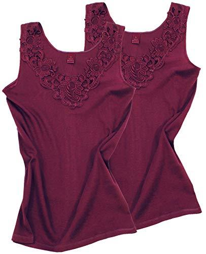 2 Stück Da. Shirt-Top- Unterhemden Gekämmte Baumwolle mit extra großer Spitze Ohne Seitennaht (44/46, Bordeaux)