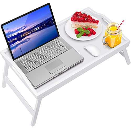 Bed Tray Table Bamboo Breakfast Food Tray with Folding Legs Kitchen Platters Serving Tray for Bed TV Table Desk Laptop Computer Snack Tray
