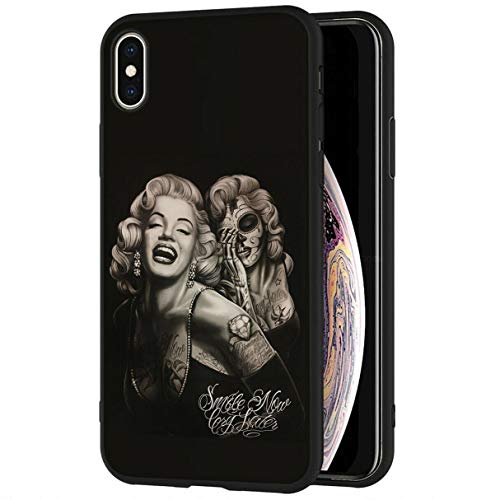 Mixroom - Cover Custodia in Silicone TPU Nero Opaco per iPhone 7 Fantasia Marilyn Monroe Cry 369
