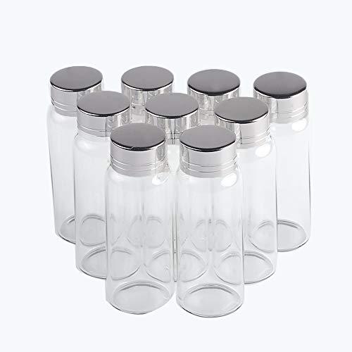 Jarvials 12pcs Botellas de Vidrio Transparente de 25ml con Cubierta de Aluminio Plateado, Botellas de Vidrio Mini Botella Decorativa de Perfume Líquido Frascos de Vidrio Vacíos al por Mayor