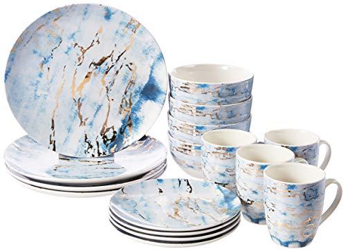 American Atelier Marble 16 Piece Round Dinnerware Set, 10.5'' x 10.5',...