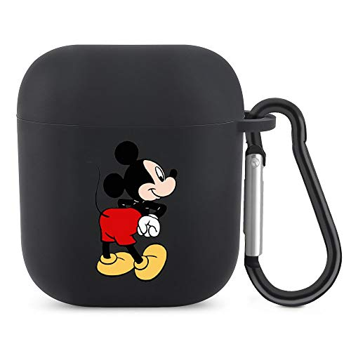 Mickey Mouse & Wait AirPods Silicone Protective Cover (with Buckle) Protective Cover for AirPods 1/2 Generation Bluetooth Headset, The Best Gift for Men and Women