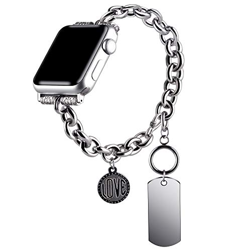 VIQIV Boho Hippie Bracelets Compatible with Apple Watch 38mm 40mm iwatch SE Series 6 5 4 3 2 1 for Women Mens, Stainless Steel Jewelry Dressy Metallic Charm Wristband Strap Accessories, Silver