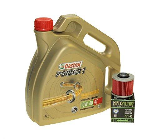 Öl Wechselset 4 Liter Castrol SAE 10W-40 Power 1 4T inkl. Ölfilter Hiflo HF145 für Aprilia Pegaso 650, Derbi, MZ/MUZ, Yamaha XT 600