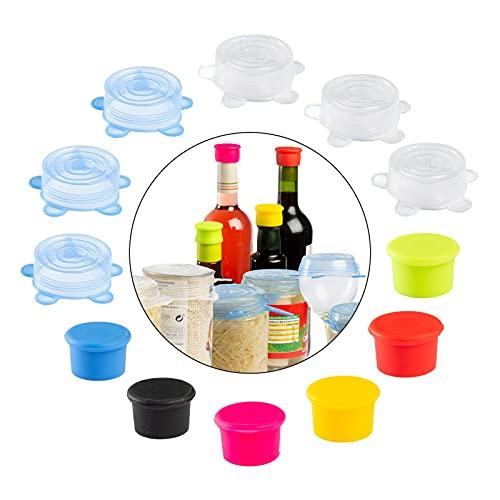 SOLTANA Pack de 6 Tapones de botellas + 6 Tapas de silicona, Tapas silicona para tazas y vasos, Tapones para botellas de vino, Tapas y tapones de silicona reutilizables, Tapas para latas