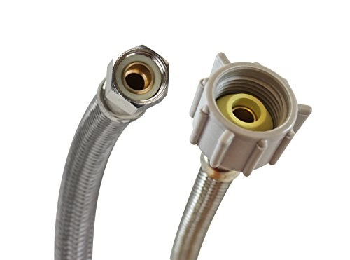 Fluidmaster B1T16 Toilet Connector, Braided Stainless Steel - 3/8 Female Compression Thread x 7/8 Female Ballcock Thread, 16-Inch Length (0.375 X 16 Thread)
