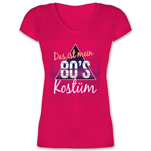 Karneval & Fasching - Das ist Mein 80er Jahre Kostüm - S - Fuchsia - t-Shirt Damen 80er Jahre - XO1525 - Damen T-Shirt mit V-Ausschnitt