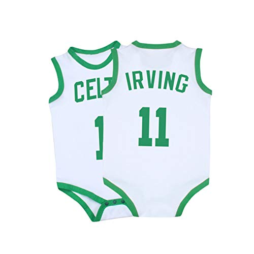 Baby Jersey Warriors Lakers James Romper Mono sin Mangas Chaleco 0-15 Meses,White+Green,80CM